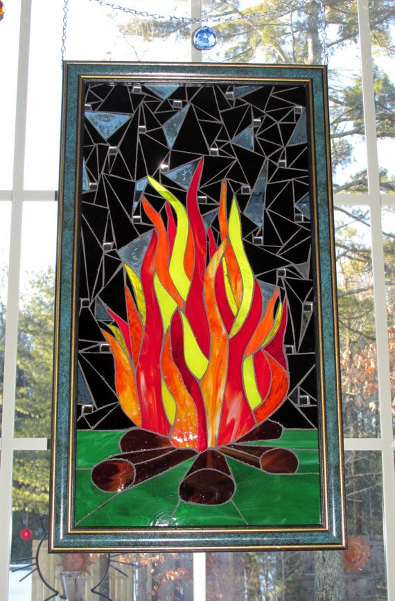 Campfire Stained Glass Mosaic Flames Red Orange Yellow Black