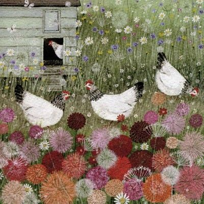 PL-ESK016 Pretty greetings card for any occasion illustrated with a four Light Sussex hens in a meadow by Lucy Grossmith