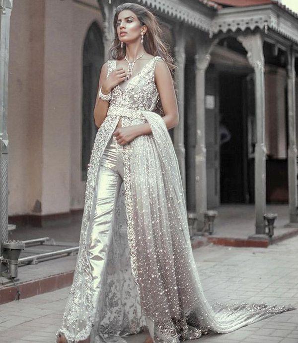 silver embelished bridal pantsuit - brides of adeladie