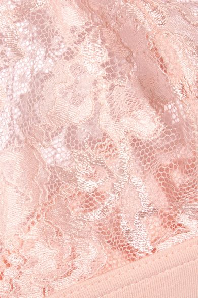 La Perla - Souple Leavers Lace And Stretch Cotton-blend Jersey Triangle Bra - Pastel pink - 36B