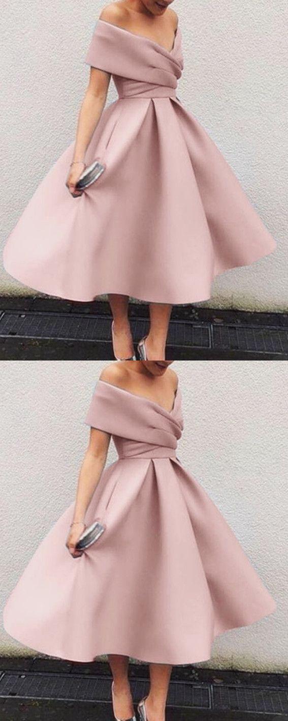 Vintage s style vneck off the shoulder tea length ball gowns