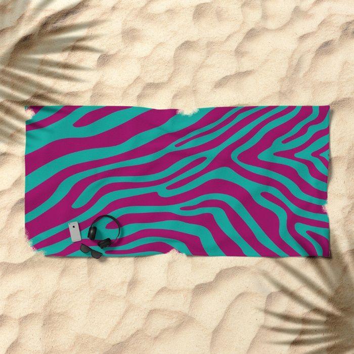 Summer Zebra: Magenta Beach Towel by REALITY Studios | Society6