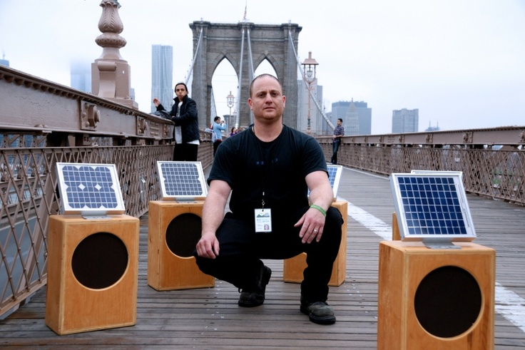 Craig Colorusso's Sun Boxes project is a solar powered sound installation, consisting of twenty speakers equipped with solar panels and a looped recording of a different guitar note. Given the loops' different lengths, the piece created by the Sun Boxes evolves gradually over time and is never the same time. The installation has been placed in a variety of different natural environments, transforming the space and inviting the listener to enter this unique atmosphere.