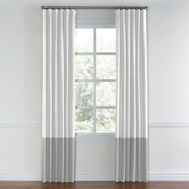 White & Blue Gray Linen Color Block Curtain | Loom Decor
