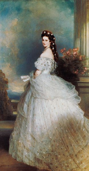 Franz Xaver Winterhalter - Empress Elisabeth in Courtly Gala Dress with Diamond Stars (Sissi) - -Empress of Austria/ Queen of H