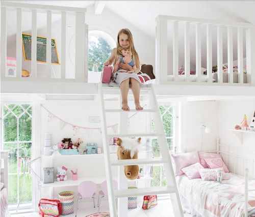 Spacious girls bedroom with Mezzanine - a room any girl of any age would love!