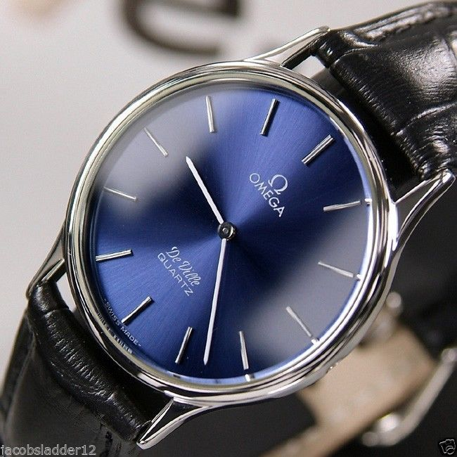 OMEGA DE VILLE QUARTZ BLUE DIAL VINTAGE RARE ANTIQUE MEN'S SWISS USED WATCH #Omega #LuxuryDressStyles