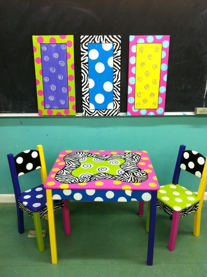 Beautiful Painted Kids Table And Chairs.. This Would Be A Cute Homework Table