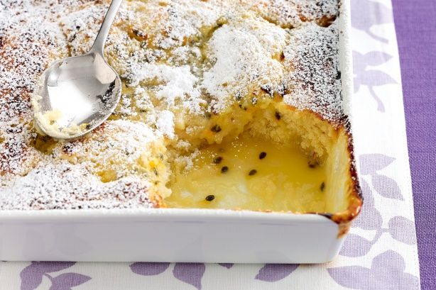 Coconut and passionfruit self-saucing pudding. This recipe uses coconut milk for an extra shot of flavour.