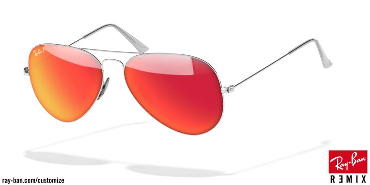 occhiali da sole Ray-Ban aviator argento arancione flash  polarizzato #rayban