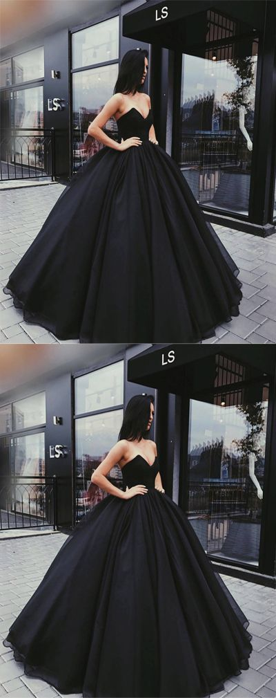 Stylish A-Line Sweetheart Ball Gown Black Satin Long Prom/Evening Dress,MB 141
