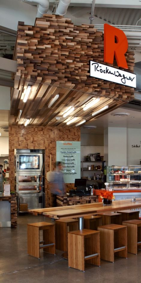 Röckenwagner Bakery in Santa Monica... Stacking wood planks for ceiling decor