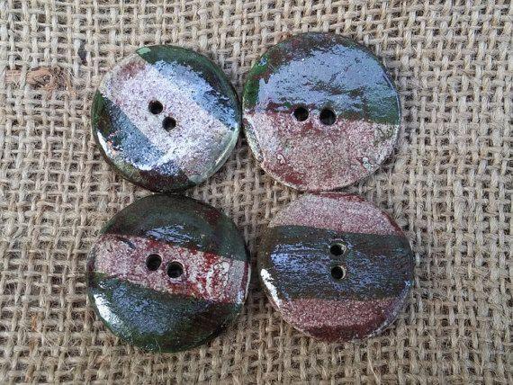 Ceramic Oval Button1 3/8  35mm  round button by BlueBirdyDesign