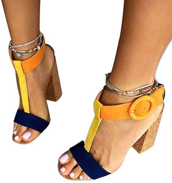 20cafcfcdac5b Amazon.com | Women's Summer T-Shaped Wood-Tone Buckle Block Suede ...