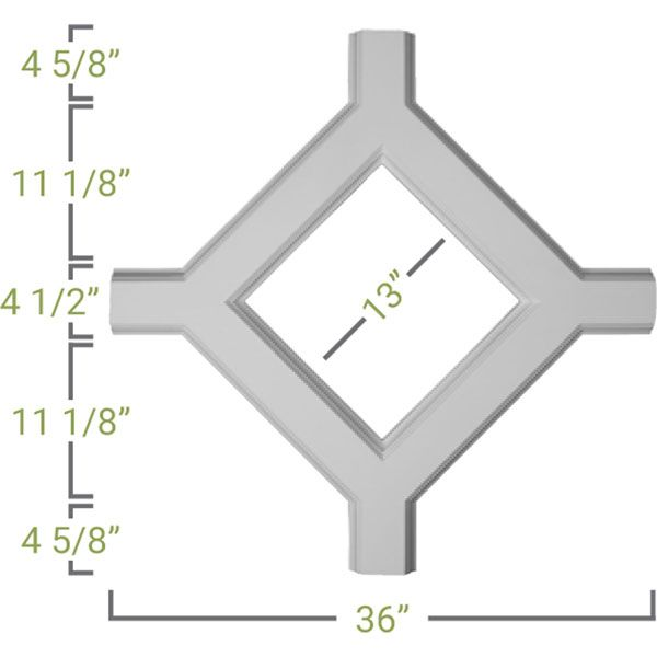 Ekena Millwork CC05ISI02X36X36TR 36W x 2P x 36L Inner Square Intersection for 5 Traditional Coffered Ceiling System