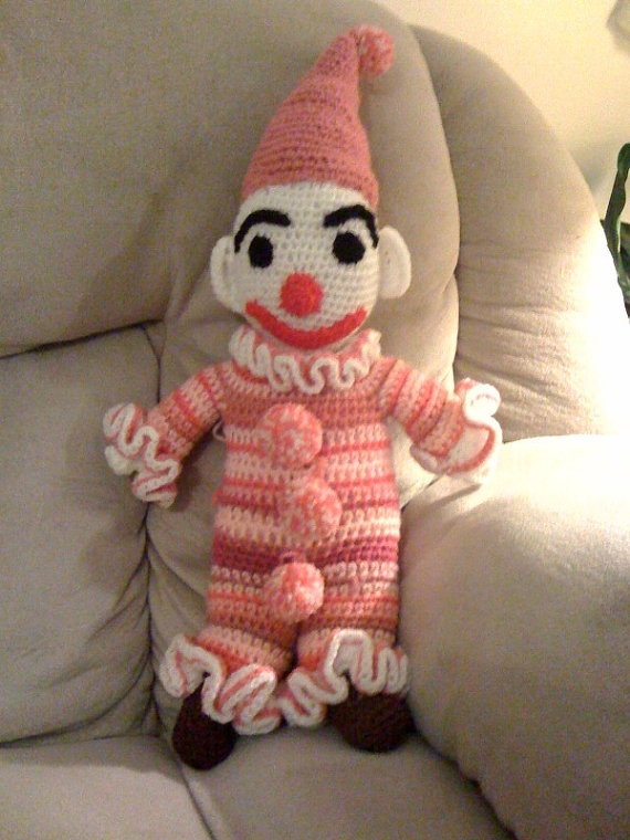 Crocheted Clown Doll by AtomixVintageCollect on Etsy, $15.00