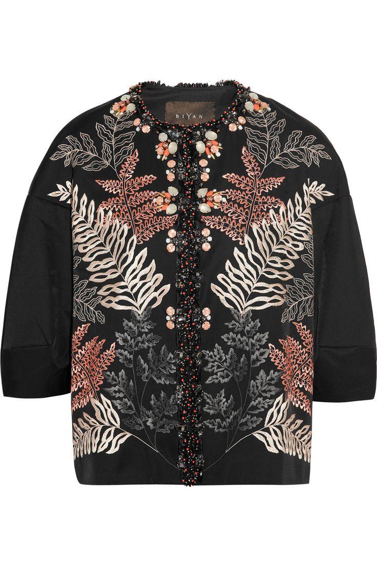 Biyan|Katrina embellished embroidered taffeta jacket|NET-A-PORTER.COM