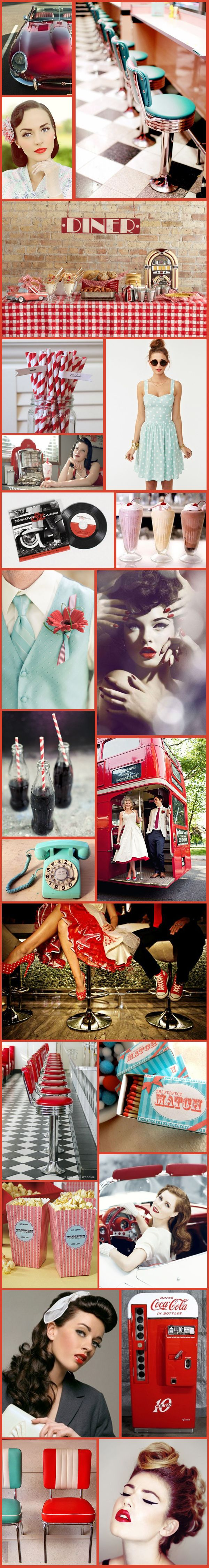 Wednesday Wedding Inspiration: Fun 50′s Retro Theme! – Bespoke-Bride: Wedding Blog ohmygod yes, this has completely changed my theme for my wedding!