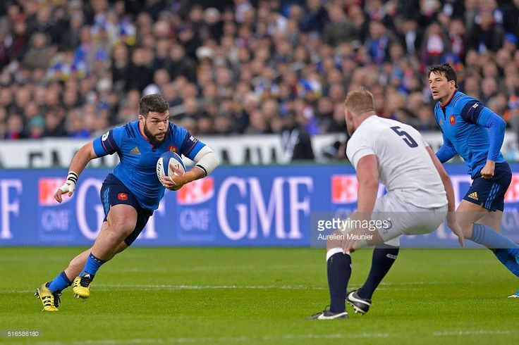 Rabah Slimani of France runs with the ball during the RBS Six Nations match between France and England at the Stade de France on March 19, 2016 in Paris, France.