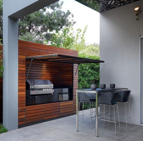 BBQ that can be hidden away and provides a shelter too