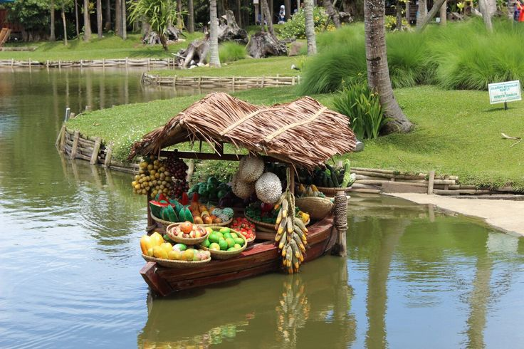 Fruits and Vegetables on a small boat