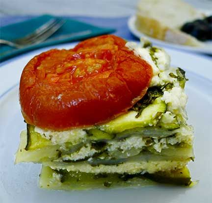 Too many zucchinis?? Try making tasty Boureki from Hania, Crete, Greece (Zucchini, Tomato, Potato, and Mint Gratin). Can be made way ahead! And if you really have a zucchini glut, you can freeze pans of Boureki for easy, but wonderful, mid-winter meals.