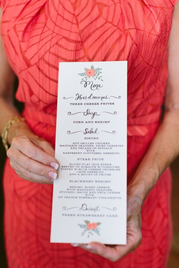 first snow bridal shower menu #bridalshower http://www.weddingchicks.com/2013/11/21/peach-and-mint-bridesmaid-luncheon/