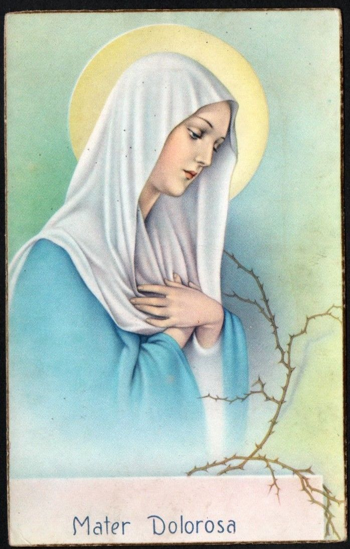 Holy Card Antique Postale De La Virgin Dolorosa Santino Image