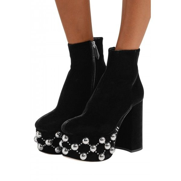 Womens Ladies Chunky Platform Ankle Boots Studded Block High Heels Shoes Size