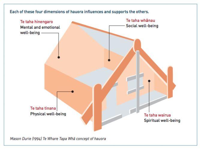 A graphic representation of Te Whare Tapa Whā concept of hauora