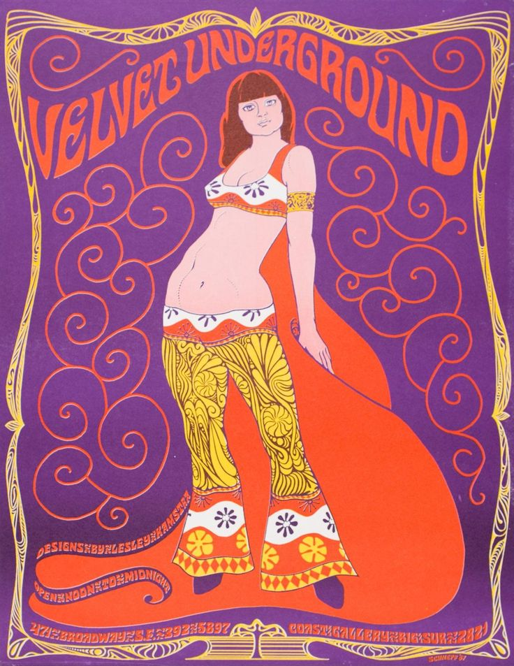 Mod •~• vintage The Velvet Underground illustration by Lesley Kamstra, 1967