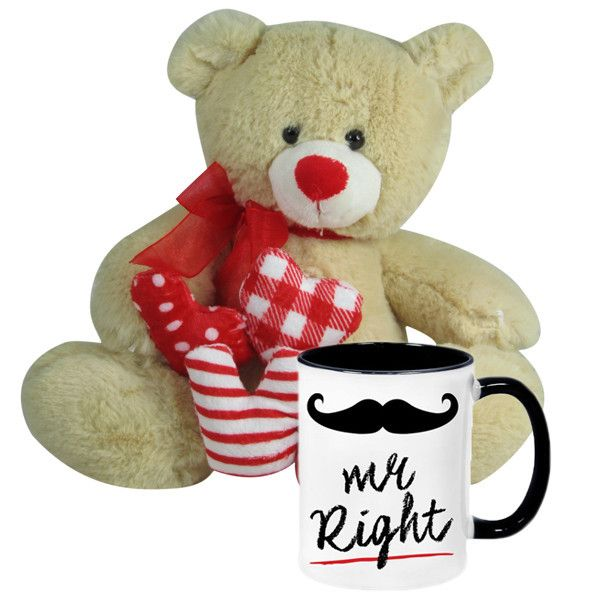 Valentine Gift Ideas (Mr Right Mug With Cute Teddy) Mr Right - MUG, is best celebrated with this cute, comfy soft toy that gives the best bill and coo in your absence! Size :Height : 22 cm X Length : 25 cm X Width : 14 cm. Rs. 898 : Shop Now : http://hallmarkcards.co.in/collections/valentines-hampers/products/personalised-valentine-gift-ideas-for-her