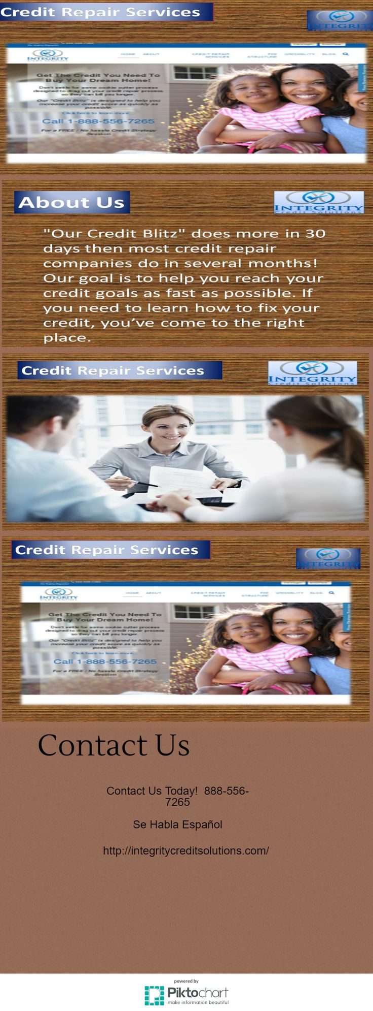 Welcome to integritycreditsolutions.Integrity Credit Solutions offers a program that will fit most any budget!For more info visit on our website.