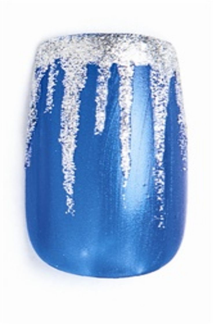 Polish the nail blue. Let dry. Use silver shimmer polish to make a purposely messy French free edge.Use a striper brush with the silver polish to drag a thin line of polish vertically partway up the nail, tapering to a point to make an icicle.
