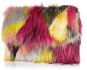 River Island Womens Pink faux fur clutch bag