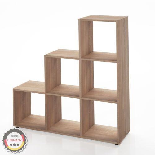 regal treppenregal raumteiler stufenregal b cherregal aktenregal 6 f cher braun. Black Bedroom Furniture Sets. Home Design Ideas