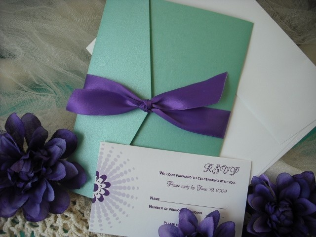 Chic Doilies Pocket Fold Wedding Invitation Ensemble Sample In Tiffany Blue Purple Lavender And White Includes Reception Card Rsvp Recipe
