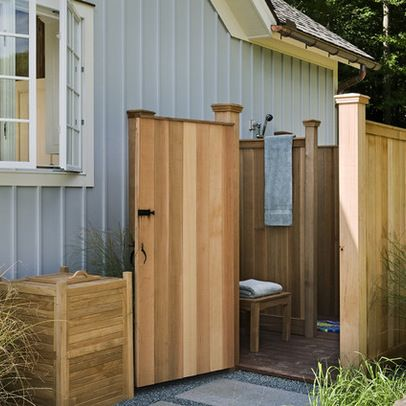 Outdoor shower bathroom exteriors poolside pinterest for Cost to build a pool house with bathroom