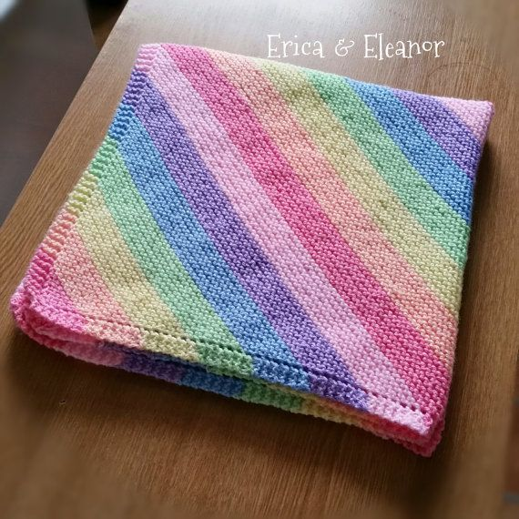 Hand knitted baby blanket Pastel Rainbow by EricaandEleanor