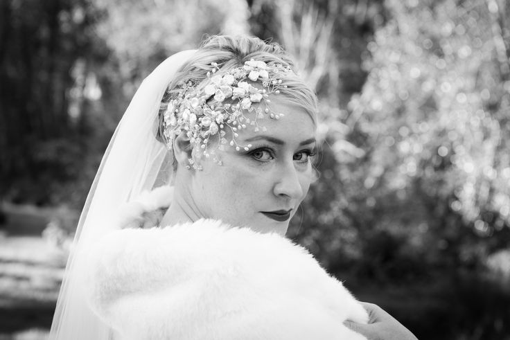 Entrancing bridal style! Christina wearing the elegant Valentina wrap by Blanche in the Brambles