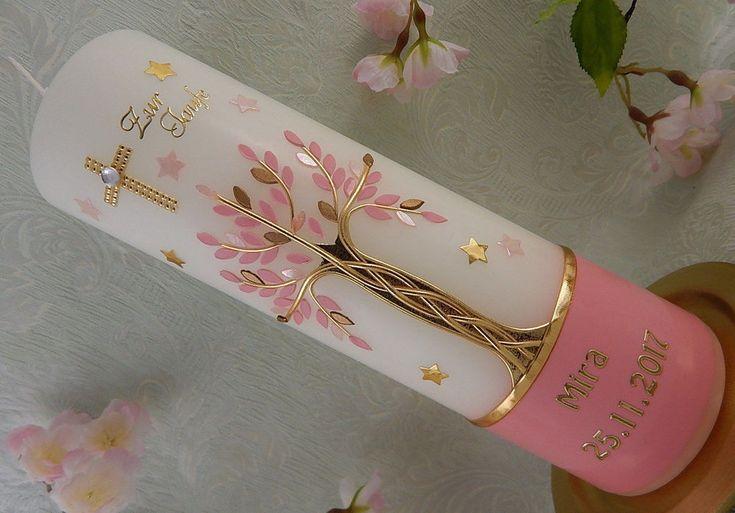 Taufkerze Lebensbaum rosa gold Taufkerzen Mädchen mit Name und Datum