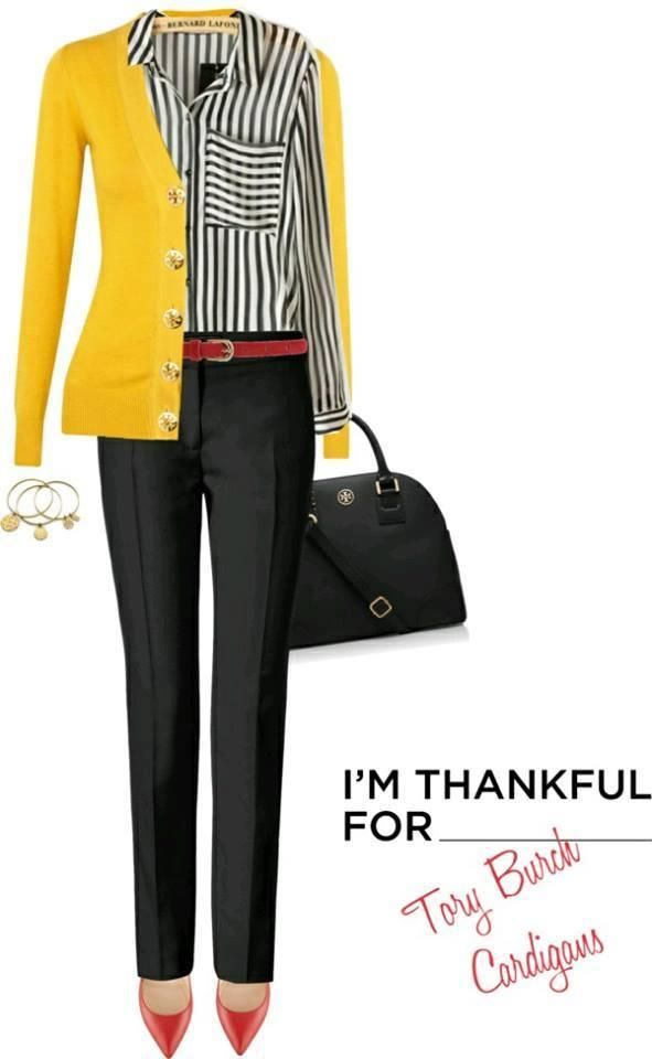 Tory Burch yellow Cardigan, Striped black and white shirt. Oh and the bloody red pumps. Work to happy hour.