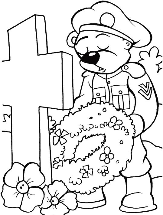 giving a bouquet of flowers in the memorial day coloring pages