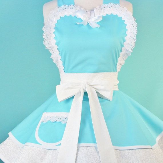 Tiffany Blue Apron - OH MYCrafts Ideas, Aqua Blue, Wedding Day, Tiffany Blue, Dots Diners, Breakfast At Tiffany, Bridal Shower, Blue Aprons, 60S Style