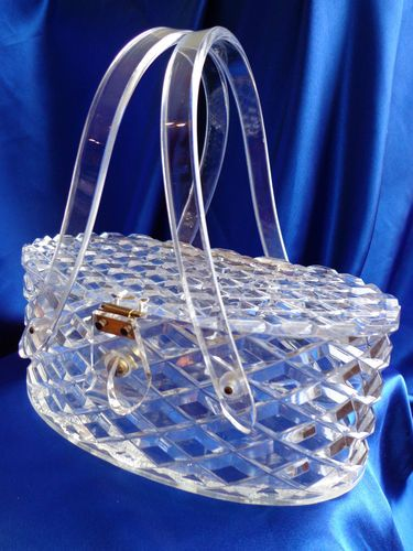 Vintage Raised Diamond CUT Clear Carved Lucite Sparkles IN THE Light Beautiful | eBay