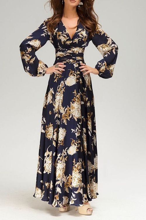 V Neck Floral Print Long Sleeve Maxi Dress