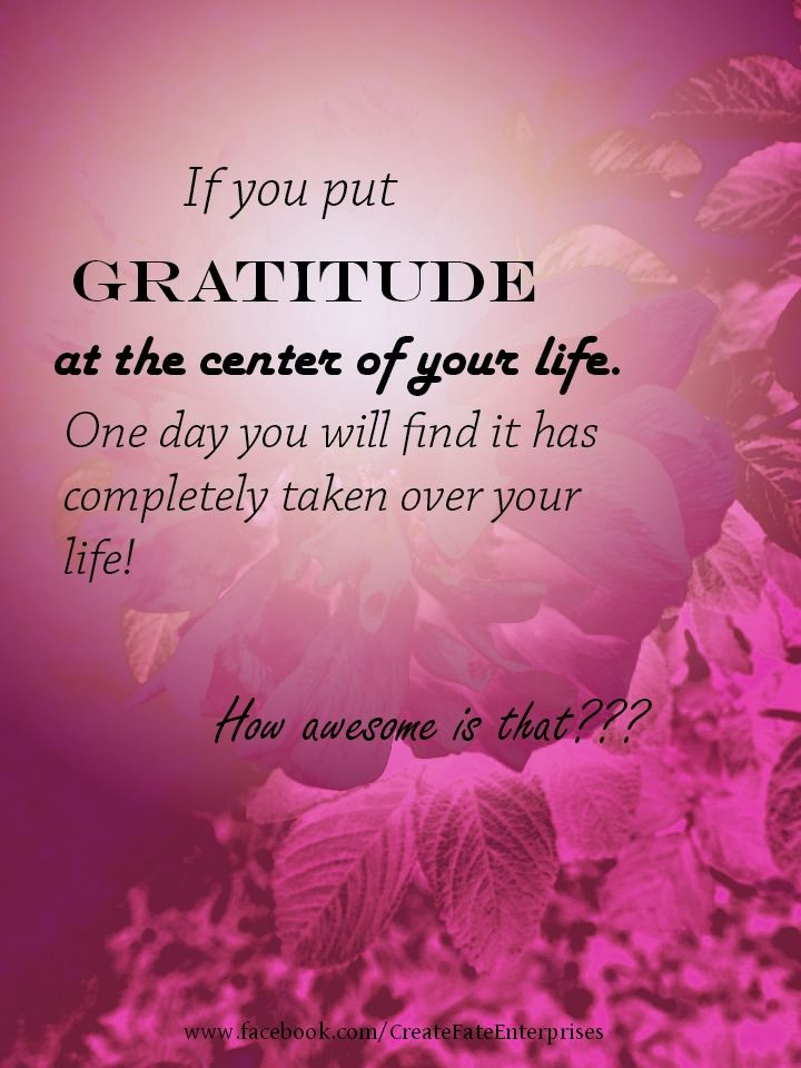 If you put gratitude at the center of your life. One day you will find it has completely taken over your life.