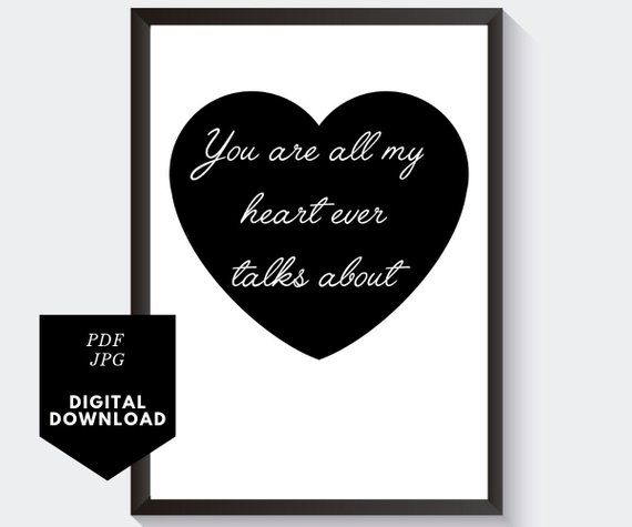 Romantic Quote In Heart Black And White Love Sign You Are All My