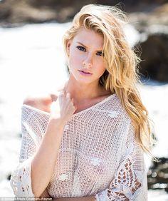 Sheer daring: Charlotte wore her long blonde locks into waves flowing over her shoulders