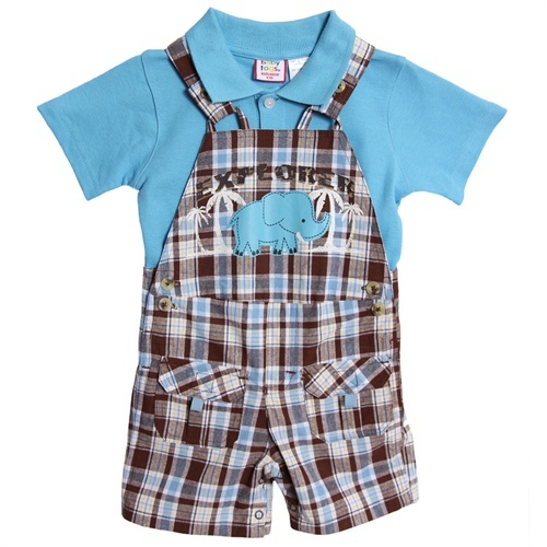 Baby Togs Infant Baby Boys 2 Piece Blue Polo Shirt Brown Plaid Overalls Shorts